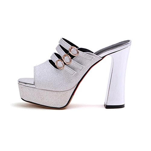 Sandals Summer Sequined Cloth Upper Women's Shoes High Heels Fashion Thick Heel White VL6lDFK
