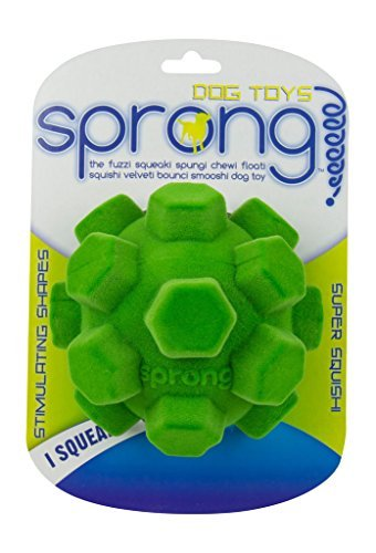 Sprong Dog Chew and Squeek Toys - Large Hex Ball - Assorted Colors by R2P Group