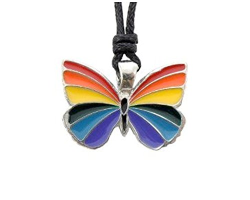 Gay Rainbow Butterfly Pendant - Gay Flag / LGBT Gay and Lesbian Pride Necklace (Rainbow - Butterfly Necklace Rainbow
