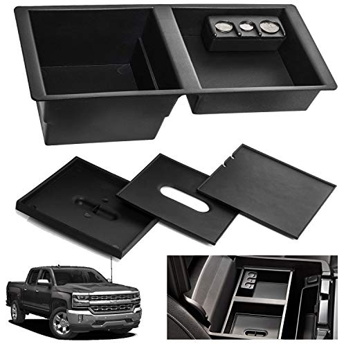 SPAUTO Center Console Insert Organizer Tray for 2014-2018 GM Vehicles Silverado, Tahoe, Suburban, GMC Sierra, Yukon, Escalate - Replaces Front Floor Insert Tray Factory OEM Part 22817343 (Console Tray)