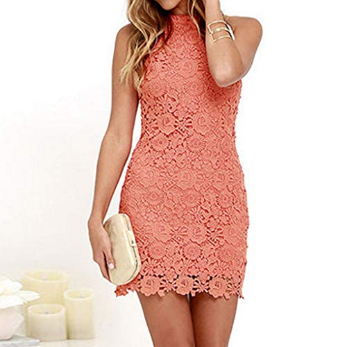 Pasato Tunic Tops Lady Halter Solid Hollow Lace Slim Dress