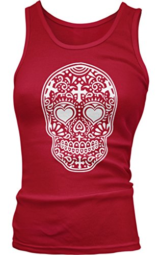 Dia De Los Muertos Sugar Skull Juniors Tank Top, Amdesco, Red XL