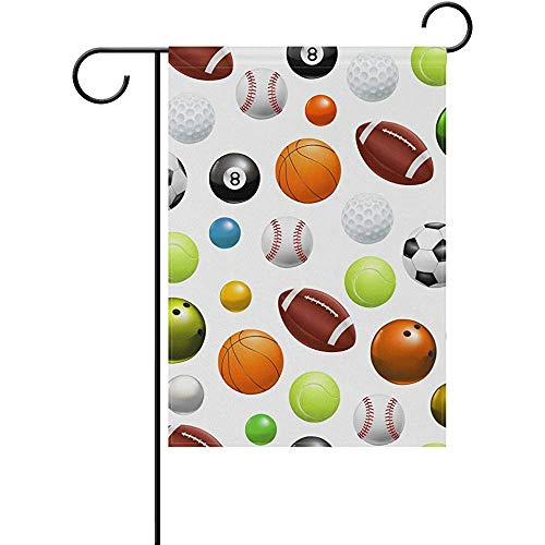 Starooct Cute Sports Balls Baseball Football Soccer Garden Flag Flags Yard Banner for Outside House Flower Pot Double Side Print 12