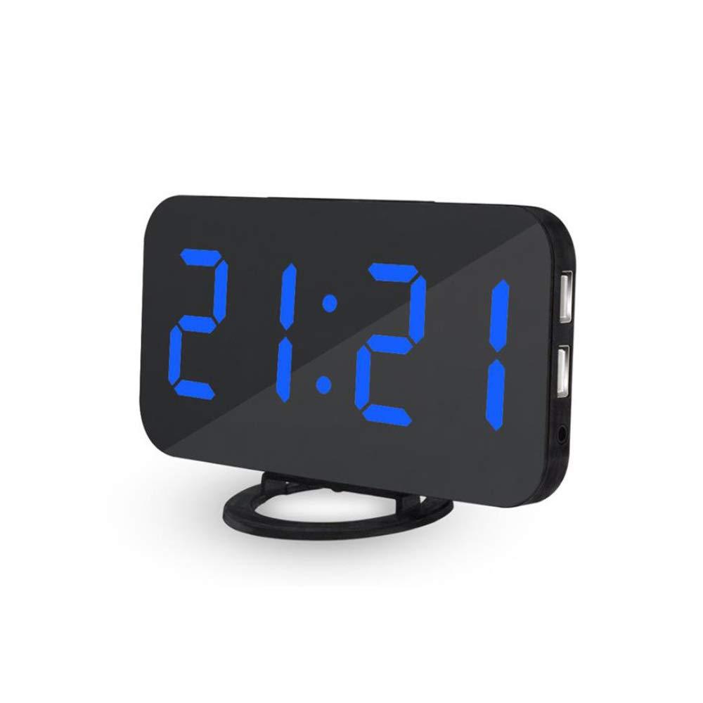 tragbare LED-Spiegelwecker mit 2 USB-Anschluss und 3 Dimmmodus B/üro und Nachttisch Snooze-Funktion f/ür Schlafzimmer LJ2 LED-Digitalwecker