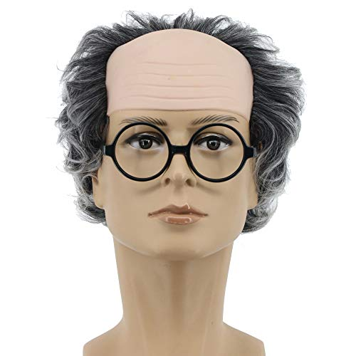 Yuehong Short Gray Old Men Wig Fluffy Bald Head Wig Synthetic Halloween Costumes Cosplay Wigs]()