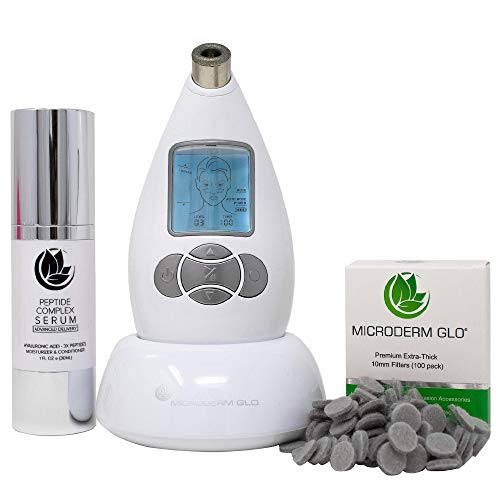 Microderm GLO Premium Skincare Bundle Includes Diamond Microdermabrasion System, 10mm Filters 100 pack, Peptide Complex Serum. Best Anti Aging Treatment Blackhead Remover and Pore Vacuum Kit (White)