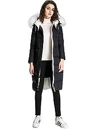 Women's Elegant Long Pattern Overknee Body Fit Raccoon Fur Collar Down Jacket