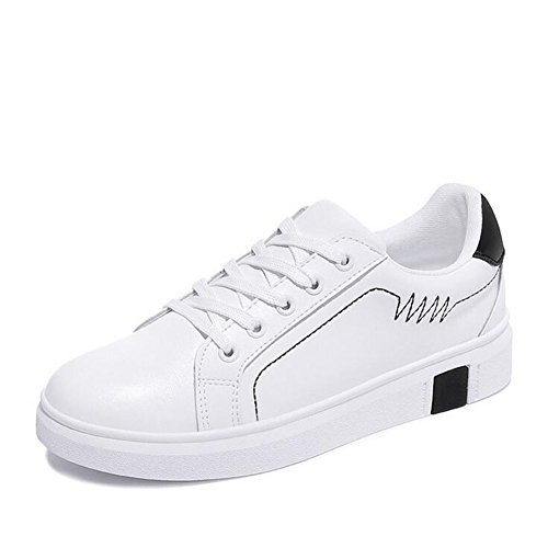 Sneakers Academy Shoes Round Spring A Leather Walking New Casual Fall Toe Shoes Lace Shoes Creepers up Women's wqfSTXf