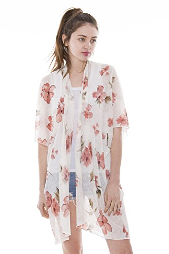 Outcrews Women's Floral Kimono Cardigan Cover up Lightweight Beachwear Swimwear Sheer Blouse Loose Tops (Kimono Ensemble)