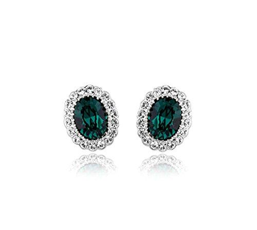 Silver Tone Oval Shaped Swarovski Elements Crystal Emerald Green Stud Earrings Fashion Jewelry for Women