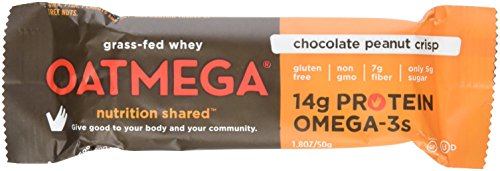 Oatmega Nutritional Chocolate Peanut Crisp Bar with Protein, 4 - 1.8oz bars