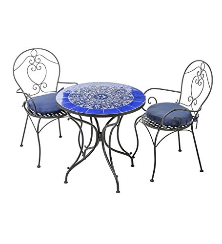 (Plow & Hearth Mosaic 3 Piece Tile Bistro Set with Cushions (Blue))