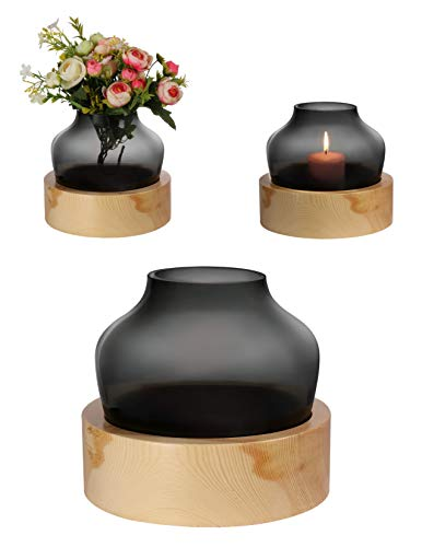 Daejou Colored Glass Vase and Wood Base Set for Decor Use. Smoke Color Glass for Flowers or Candle. Great for Home or Office.