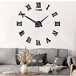 Mintime Frameless DIY Wall Clock 3D Acrylic Sticker Roman Numbers Adhesive Modern Art Wall Clock Parts Kit Home Decorations for Living Room Bedroom (2-Year Warranty) (Black-017)