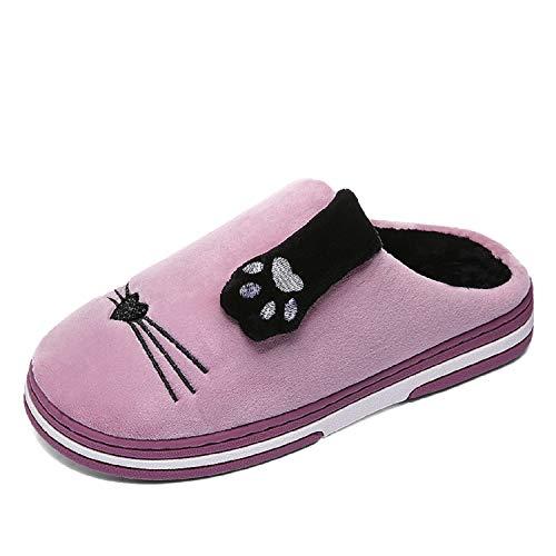 Rutschfeste Damen Slippers Hausschuhe für Weiche Wärme Unisex Baumwolle Winter Herren Plüsch Pantoffeln LILY999 Herbst Violett 8aBd0d