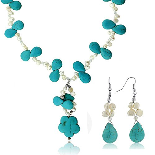 Gem Stone King 20 Inch Drop Shape Simulated Turquoise Howlite + Cultured Freshwater Pearl Necklace & Earrings