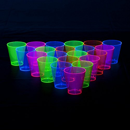 Freedco Black Light Plastic 1 Ounce Shot Shooter Glasses  Wedding Party Bar Shot Glasses  48 Count Neon Mix