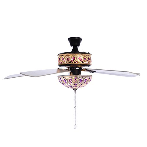 50'' Chandelier Crystal Ceiling Fan with Remote Control - Purple by River of Goods