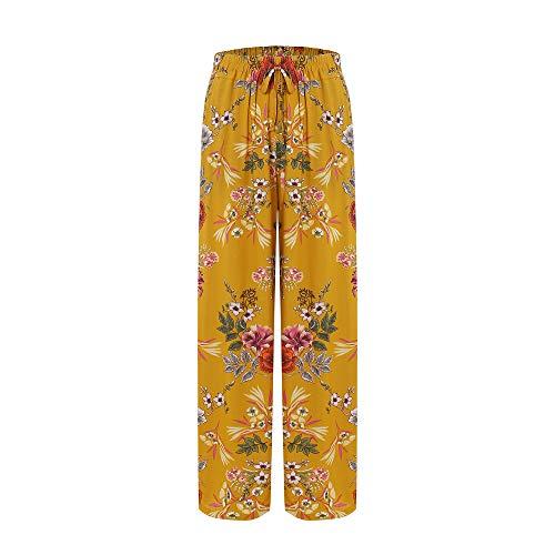 Love Welove Fashion Women's Summer Wide Leg Elastic High Waist Printed Boho Hippie Palazzo Pants Plus Size (S, Mustard Floral)