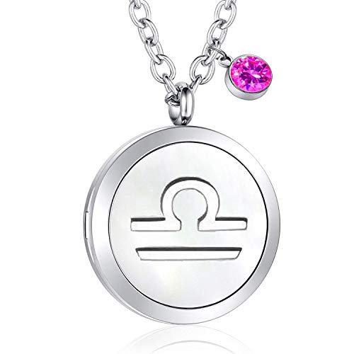 PLITI 12 Constellations Aromatherapy Essential Oil Diffuser Necklace with Birthstone Gift for Her (Libra)