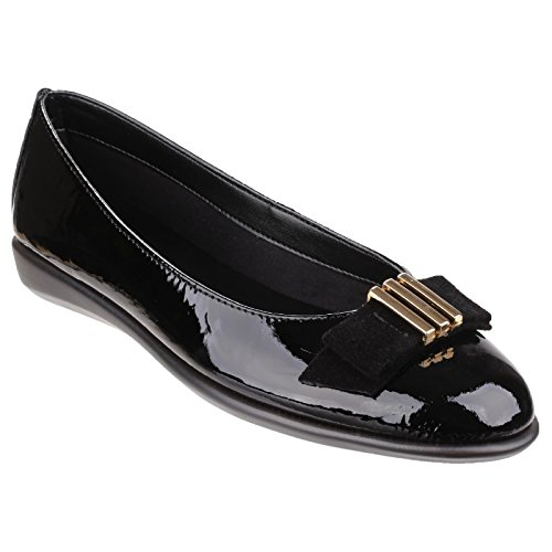 The Flexx Damen Glanzleder-Ballerinas Schwarz