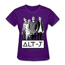 H'nan Women's Alt-J LOGO Cotton T-shirt Purple L