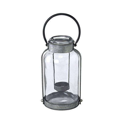 Time Concept Metal Garage Bottle Tinplate Candle Lantern Base - Grey, Large - with Built-in Handle, Home Decor