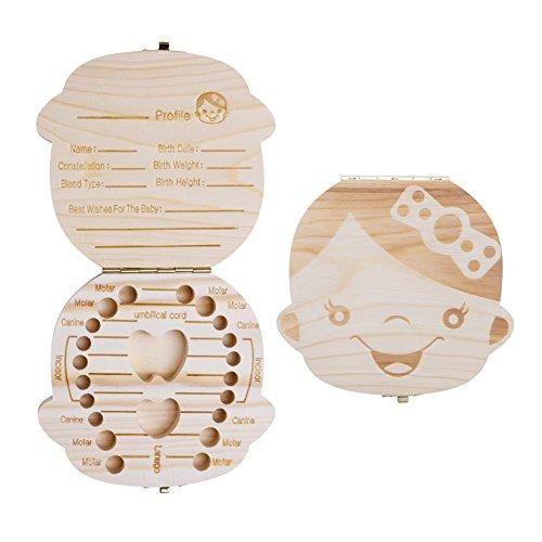 - ELENKER Baby Teeth Box Save Wooden Boxes Deciduous Souvenir Box, Child Keepsake Holder Organizer (Girl)-Perfect Gift for Couples