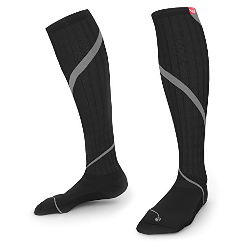 Thrusterz Pro Graduated Compression Socks 20-30 mmHg for Men & Women, Black-Grey Size 2