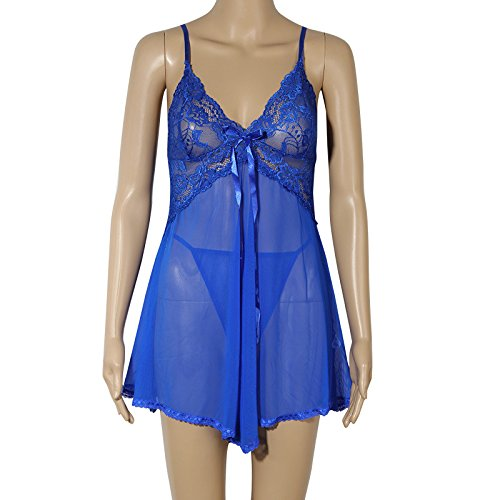 Spring Gift couples summer transparent underwear temptation pajamas bathrobe girl that blue-YU&XIN