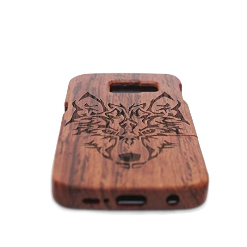 Vandot 1X Madera Shell Funda Case Cover Samsung Galaxy S6 Edge SM-G925 Caso Brújula Compass Híbrido Retro Madera Cubierta Caja de Bambú Premium Trasera Dura de la Contraportada del Patrón Tallado Lujo Wooden 02