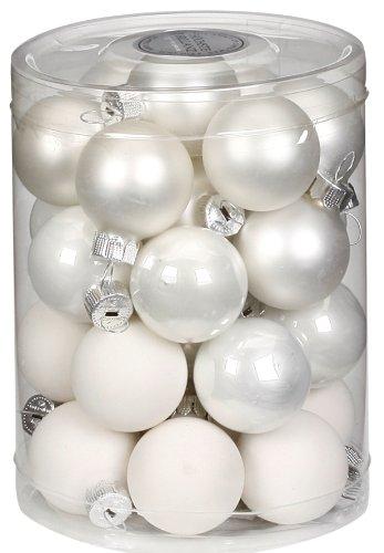 Foto Di Palline Di Natale.Inge Glas 15112d001 Contenitore Con 28 Palline Di Natale Da 30 Mm Colore Bianco Assortito
