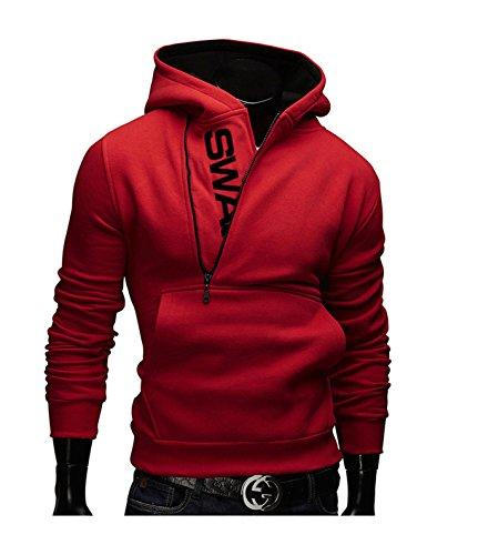 Men's Pullover Hoodies Side Half Zip Letter Print Warm Hooded Sweatshirts L Red