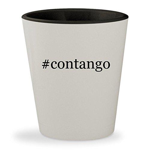 Contango   Hashtag White Outer   Black Inner Ceramic 1 5Oz Shot Glass