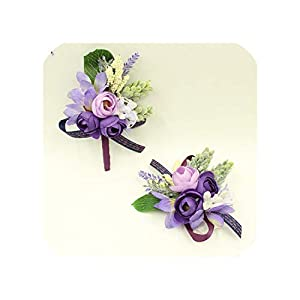 Purple Wrist Corsage Flowers Prom Groom Bride Wedding Flower Wrist Corsage Boutonniere Bridesmaid Sisters Hand 60