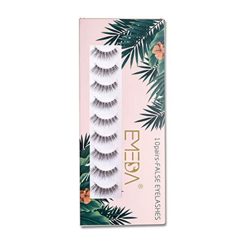 False Eyelashes Natural Look 10 Pairs 3D Fake Lashes Small Face Eyelashes 100% Handmade Lashes Wispies Short Soft Reusable Eye Lash Transparent Band Eyelash 1 Pack with Applicators by EMEDA