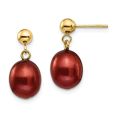 14k Yellow Gold 9mm Brown Freshwater Cultured Pearl Drop Dangle Chandelier Post Stud Earrings Rice Fine Jewelry Gifts For Women For Her