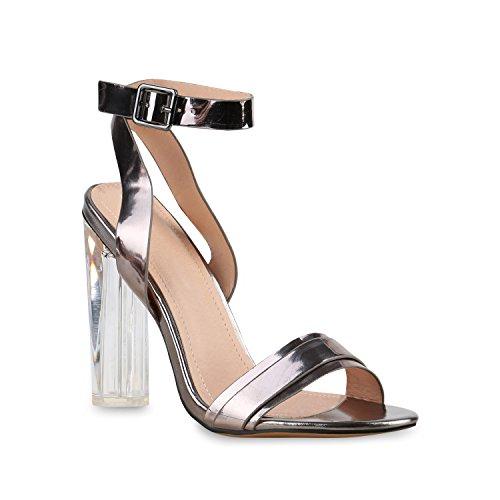 Stiefelparadies Damen Riemchensandaletten Metallic Schuhe Fransen Nieten Lack Sandaletten Sandal Boots Schaftsandaletten Velours Denim Samt Flandell Grau Metallic