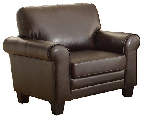 Upholstered Chair, Dark Brown Bonded Leather Match (Homelegance Upholstered Sofa)