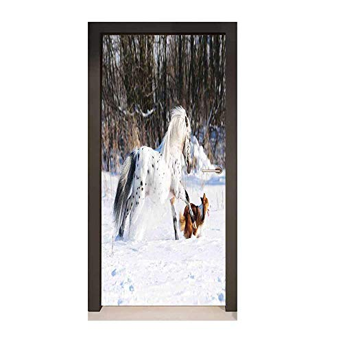 Horses Door Sticker Legendary Appaloosa Pony and Sable Border Collie Runs Gallop in Winter Photo Print for Bedroom Decoration Multicolor,W23xH70