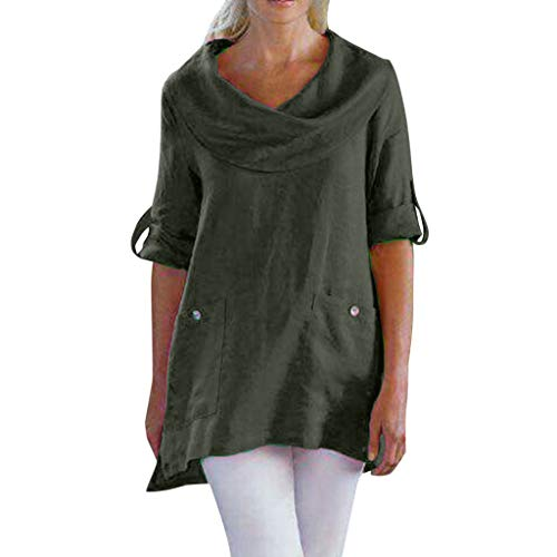 ✿HebeTop✿ Women's Casual Long Sleeve Cowl Neck Loose Tunic Shirt Blouse Tops Green (Best 5 Htp Brand Uk)