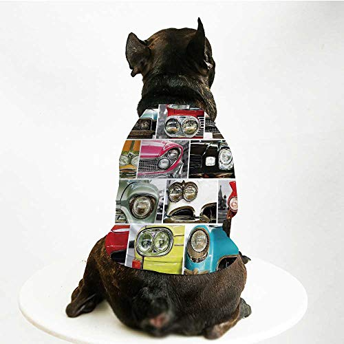 YOLIYANA 1960s Decorations Stylish Pet Suit,Classic Cars Retro Automobile Collage Bumper and Headlights Classic Old Style City Vehicle Decorative for Small Medium Big Dogs,M