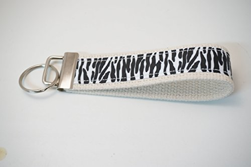 Wristlet Key Fob Larger 6 Inch White Black Zebra Print Bone