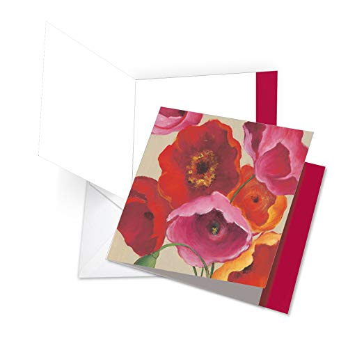 JQ4548ABDG Jumbo Birthday Square-Top Card: Painted Poppies Featuring a Bold and Vibrant Image of Colorful Poppy Flowers with Envelope 8.5 x 11 Inch (Birthday Poppies Card)