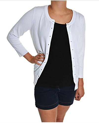 Cyrus 3/4 Sleeve Cardigan White (XX-Large) (Cyrus 3/4 Sleeve Sweater)