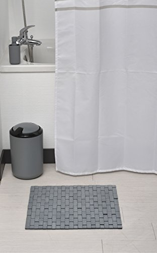EVIDECO Bathroom Bamboo Slats Roll-up Foldable Shower Door Rug, 18'' L X 18'' W x 0.4'' H(45 x 45 Cm), Gray by EVIDECO (Image #1)