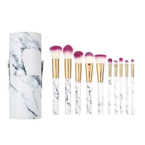 10x Kabuki Makeup Brush Set Cosmetic Foundation Powder Eyeshadow Brushes kit (Style - 10PCS Purple#2 + Cylinder Case)