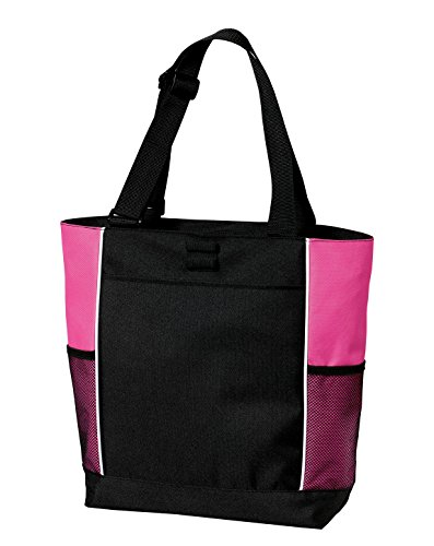 Port Authority luggage-and-bags Port Authority OSFA Black/ Tropical Pink 600 Denier Polyester Tote