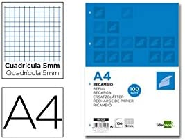 Liderpapel 72246 - Pack de 100 hojas de recambio, cuadro 5 mm, 4 taladros bandas, A4, multicolor: Amazon.es: Oficina y papelería