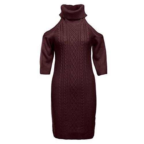 Domybest Frauen Rollkragenpullover Strapless halbe Hülsen-beiläufige dünne  Winter-Pullover Rot ftXQrS 3f2238f819